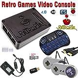 RetroBox - Raspberry Pi 3 Based Retro Game Console, 32GB Edition Black Matte case with Wireless Keyboard/Mouse and Heatsinks Installed, RetroPie