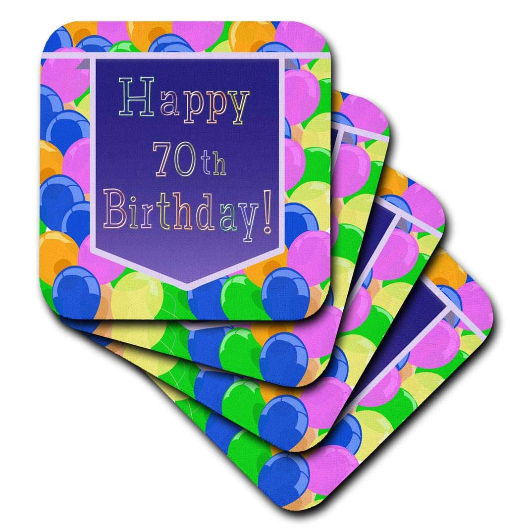 Set of 4 3dRose CST/_173074/_3 Balloons with Purple Banner Happy 70th Birthday Ceramic Tile Coaster