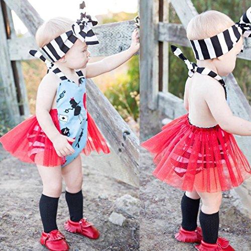 Toddler Bleu Danse Licou Infantile Jupe Barboteuse Manches De Tenues Robe Filles Costume Rayé Tutu Sans Imprimé Bébé Amuster Pour BdOTUWwqB