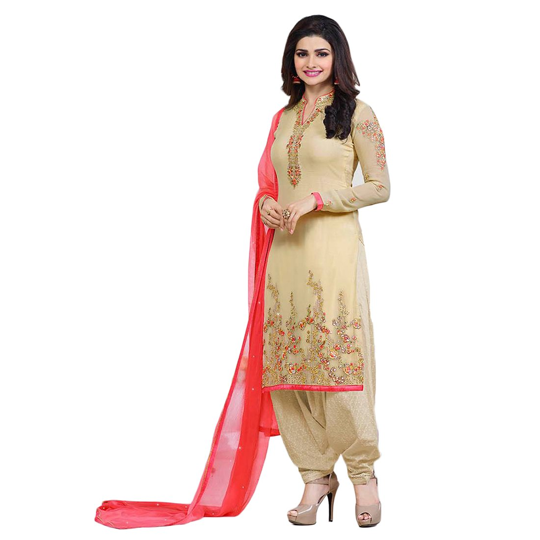 Buy Designer Desk Women S V Neck Designer Georgette Embroidered Semi Stitched Straight Salwar Suit With Palazzo Beige At Amazon In
