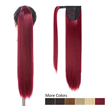 26 quot  Long Ponytail Hair Extension Red Color One Piece Hairpiece  Synthetic Pony Tail Clip in 3998476ca9f3