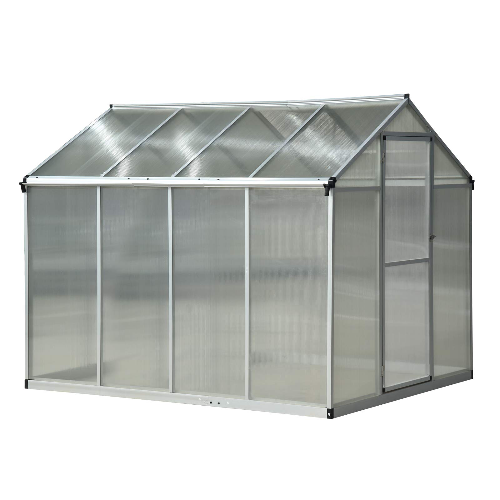 Outsunny 8' x 6' x 6.5 Polycarbonate Aluminum Framed Portable Walk-in Garden Greenhouse with Opening Roof