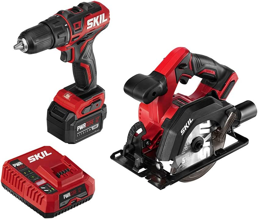 SKIL 2-Tool Combo Kit PWRCore 12 Brushless 12V 1 2 Inch Cordless Drill Driver and 5-1 2 Inch Brushless Circular Saw, with 4.0Ah Lithium Battery and PWRJump Charger – CB742701