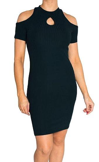 38b3404a3881c8 Short Sleeve Cold Shoulder Choker Halter Dress by Hot Kiss at Amazon ...