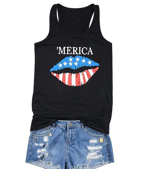 f59379aa26ee Amazon.com: Merica USA Flag Lips Cute Tank Tops Women's American Flag Star  Stripe Patriotic Vest Shirt Graphic Racerback Tops: Clothing