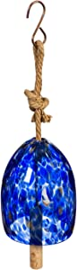 Evergreen Garden Beautiful Summer Deep Blue Art Glass Speckle Decorative Bell Chime - 6 x 6 x 8 Inches Fade and Weather Resistant Outdoor Decoration for Homes, Yards and Gardens