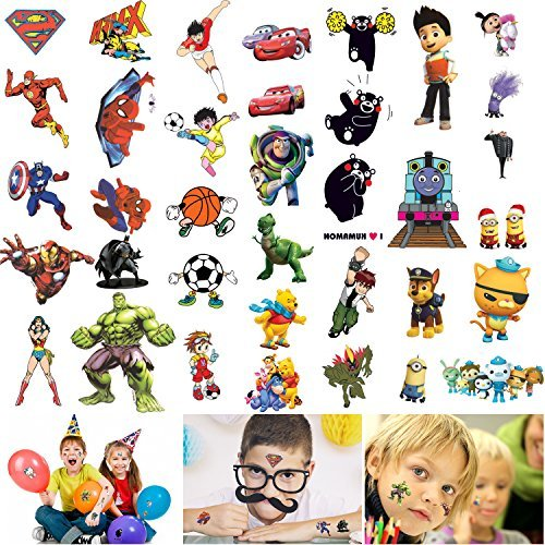 Temporary Tattoos for Kids Boys - 300 Tattoos on 18 Sheets, Super Hero Spiderman Batman Cars Thomas etc,Best for Party Favors Birthday Party Supplies School Fun Gifts -