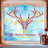 OOFYHOME Wall Sticker Removable PVC Art Stickers Elk Decoration Window Sticker Clothing Shop Wall Sticker Window Glass Sticker , red + yellow , mid