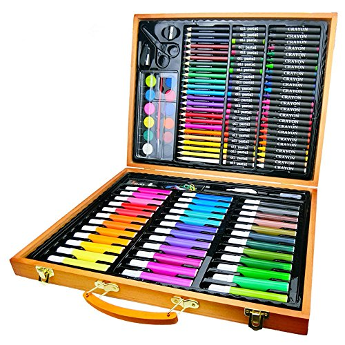 Guodanqing Primary School Children's Painting Supplies 150 Wooden Box Stationery Set Art Watercolor Pen Crayons by Guodanqing