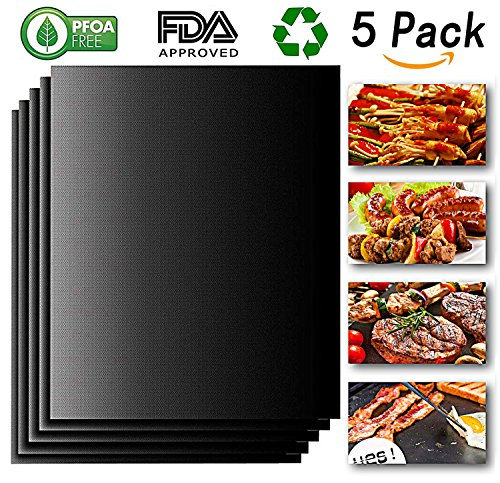 Grill Mat, Non Stick BBQ Grill Mats (Set of 5), Heavy Duty 500 Degrees, Reusable, Easy Clean, FDA Approved, PFOA Free, 13 X 15.75 Inch, Black