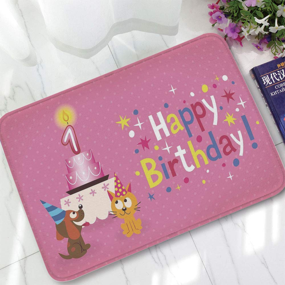 YOLIYANA Bath Mat,1st Birthday Decorations,for Dining Room Bathroom Office,15.75''x23.62'',Animal Party with Cat and Dog