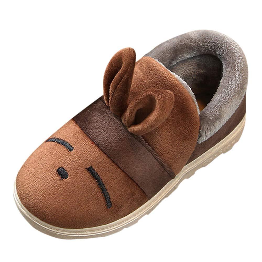 XUANOU Cartoon Rabbit Ears Plus Fluff Animal Winter Warm Snow Boots Cotton Shoes