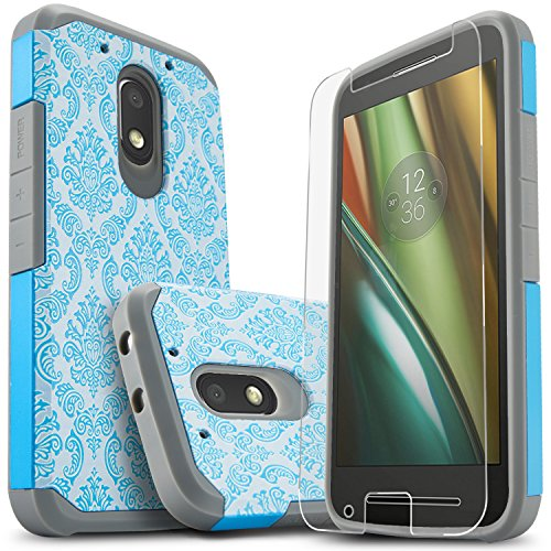 Moto G4 Play Case, Moto G Play Case (4th Gen), Starshop [Shock Absorption] Dual Layers Impact Advanced Protective Cover With [Premium HD Screen Protector Included] For Motorola Moto G4 Play(Teal Lace)