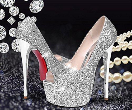 Synthétique Beau Été Silver 34 Fête Chaussures Mariage Heel Gold Stiletto Heels Automne Club De Mnii Élégant Hiver Robe Et Printemps Soirée 01w4C