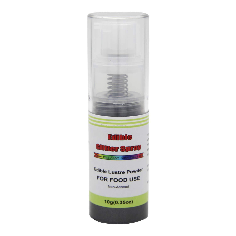 Edible Glitter Spray( Black ), Non Aerosol Food Coloring Lustre Powder, Food Grade Sparkling Dust Push Pump for Decorating Cupcake, Fondant, Cookie, Frosting, Gum paste, 0.35 OZ.