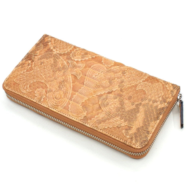 PPZ1114-OR 蛇革(パイソン)ラウンドファスナー長財布:L.size ペイズリー柄オレンジ B00KF9ZAGU