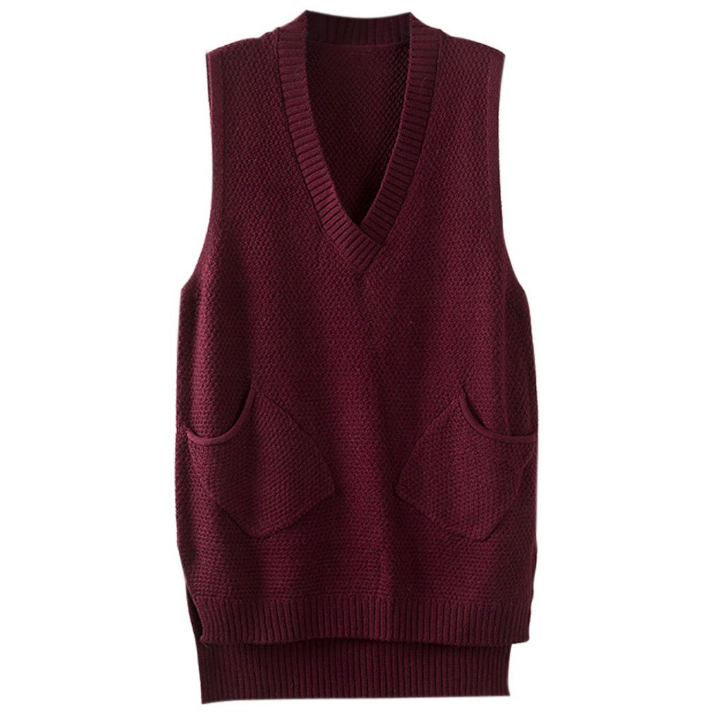 Gordon Q Women's Casual Deep V-Neck Knit Cotton Long Vest Wine One Size