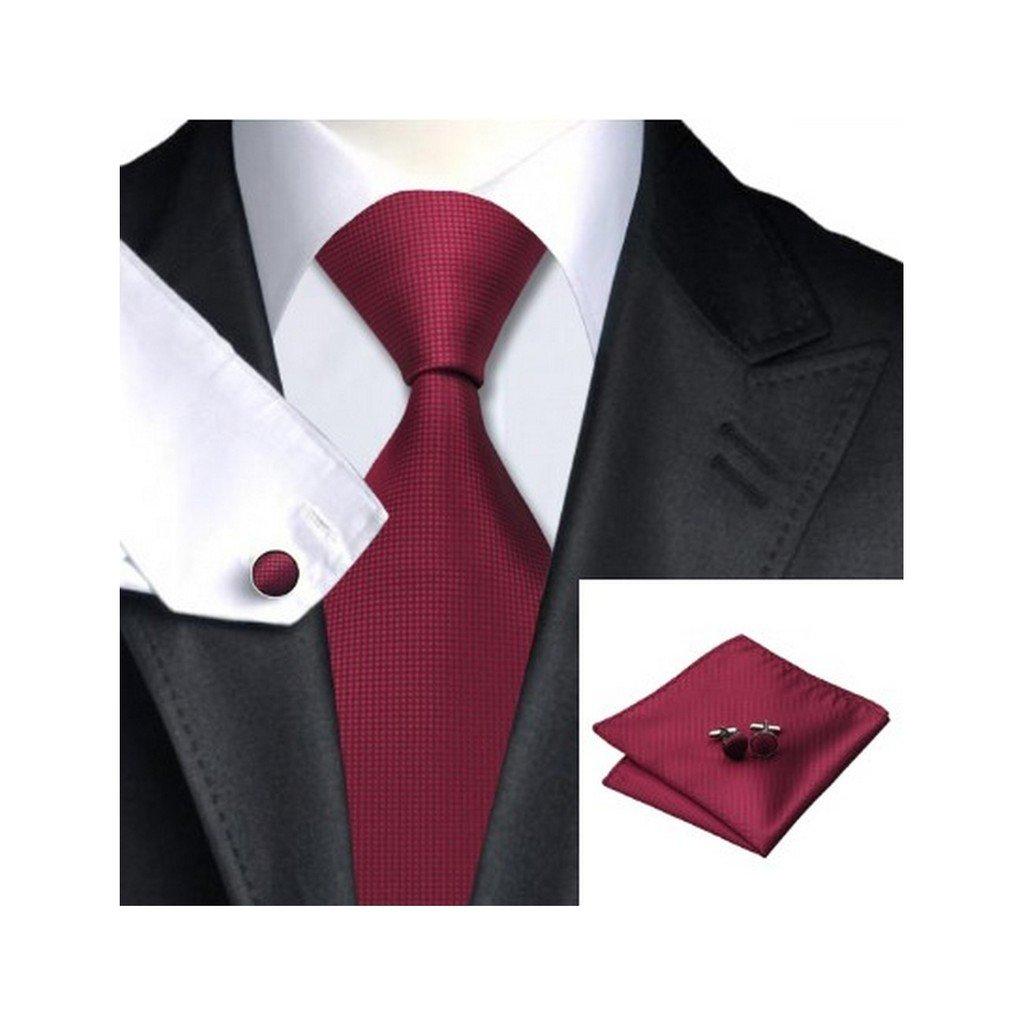Crimson Solid Classic Silk Necktie Tie Hanky and Cufflinks Set For Men