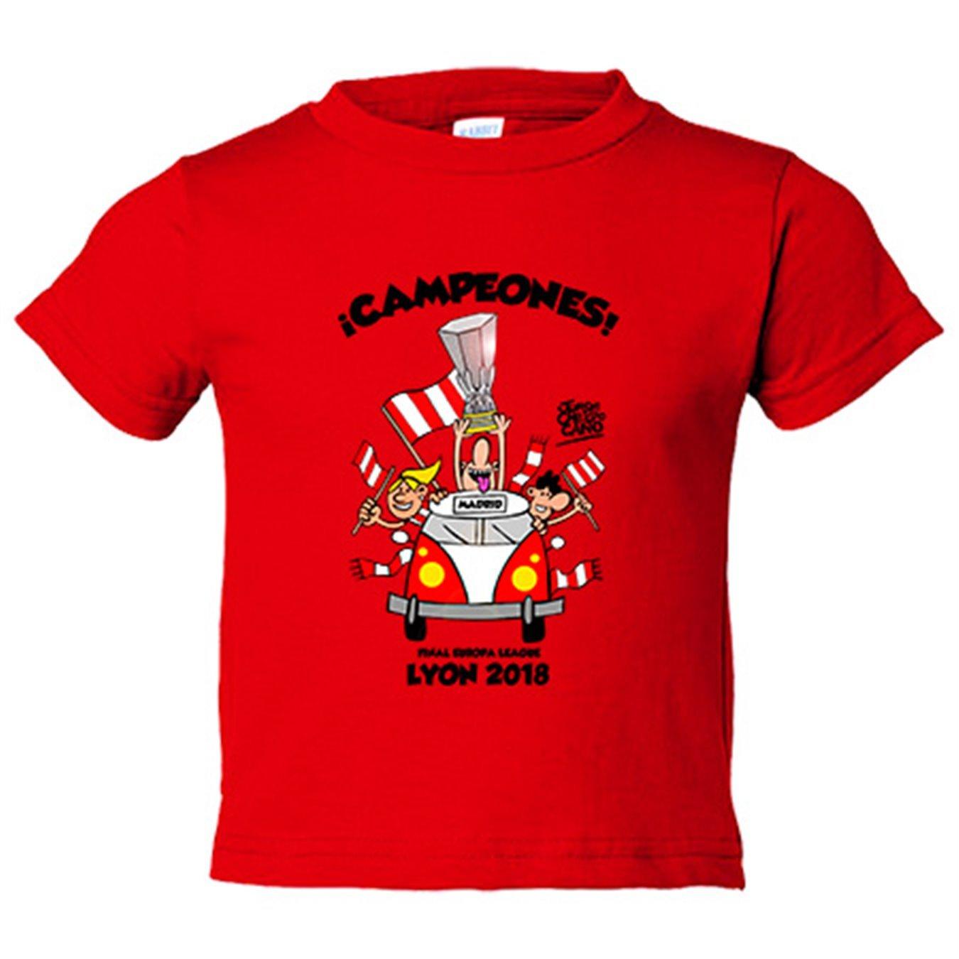 Camiseta niño Atlético de Madrid volvemos de Lyon campeones 2018 Europa League - Amarillo, 3-4 años: Amazon.es: Bebé