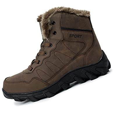 Men's Hiker Leather Winter Waterproof Hiking Boot Outdoor Backpacking Shoe with Fur