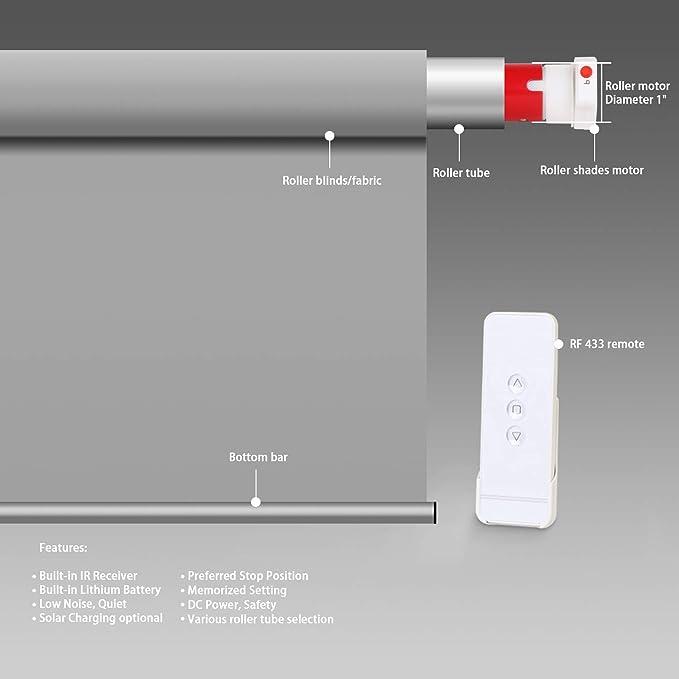 Kit de motor de persiana enrollable inalámbrico recargable con control remoto para persianas motorizadas eléctricas, tubo de 1.5 pulgadas