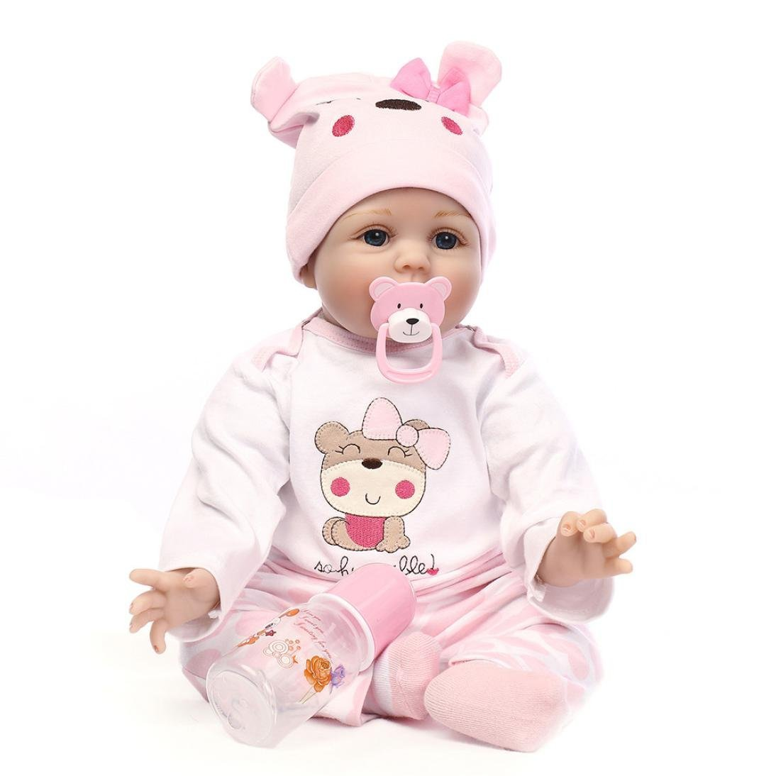 Kehome Reborn Toddler 55cm 22'' Reborn Baby Doll Realistic Girl Weighted Doll Gift Set Lifelike Soft Silicone Vinyl Child Growth Partner Lovely Birthday Gift Xmas Present (22 Inch)