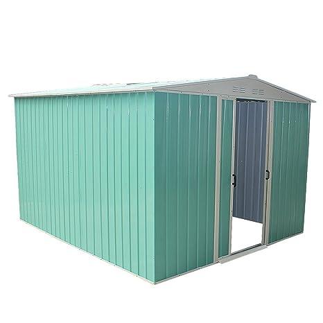 Keinode - Caseta de jardín de Metal para cobertizo, Acero galvanizado, superposición, Techo