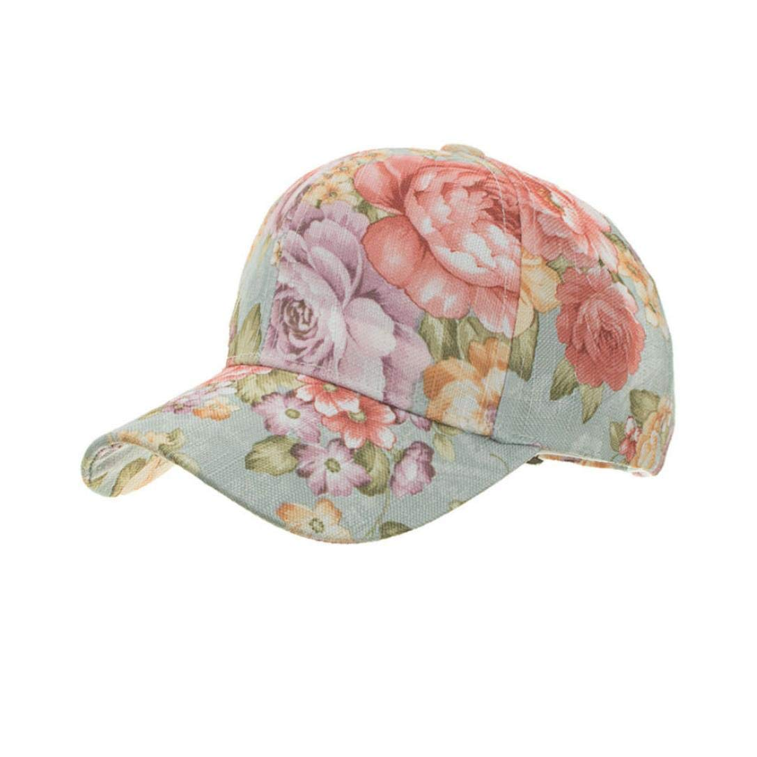 Suma-ma 3Colors Women Flora Breathable Baseball Cap - Flower Print Sport Hats -for Choice Outdoor Golf Sun Hat