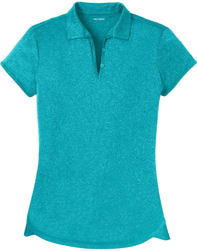 DRI-Equip Ladies Heathered Moisture Wicking Golf Polo-TropicBlue-3XL by Joe's USA