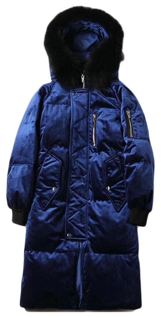 ouxiuli Women Long Sleeve Cotton Plus Size Velvet Faux Fur Hooded Coat Blue XS