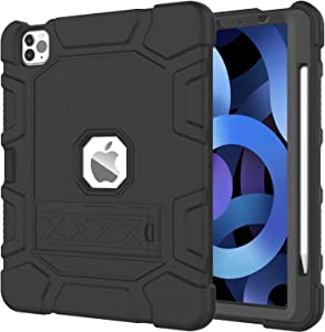 AZZSY Case for iPad Air 4th Generation 10.9 Inch 2020, [Support 2nd Gen Apple Pencil Charging] Slim Heavy Duty Shockproof Rugged High Impact Protective Kids Case, Black
