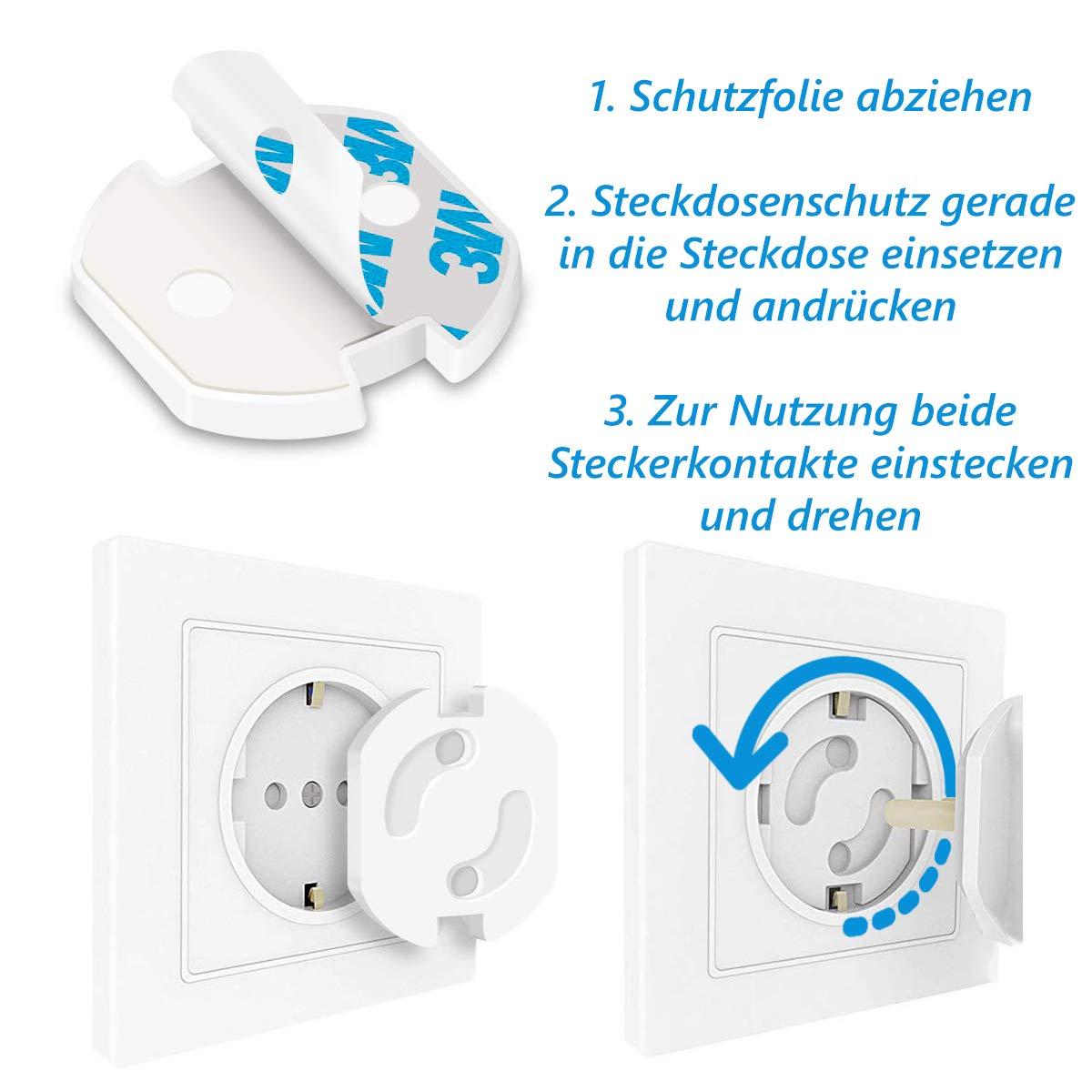 Steckdosenschutz Kindersicherung mit Drehmechanik Baby Steckdosensicherung f/ür Eurostecker Steckdosen