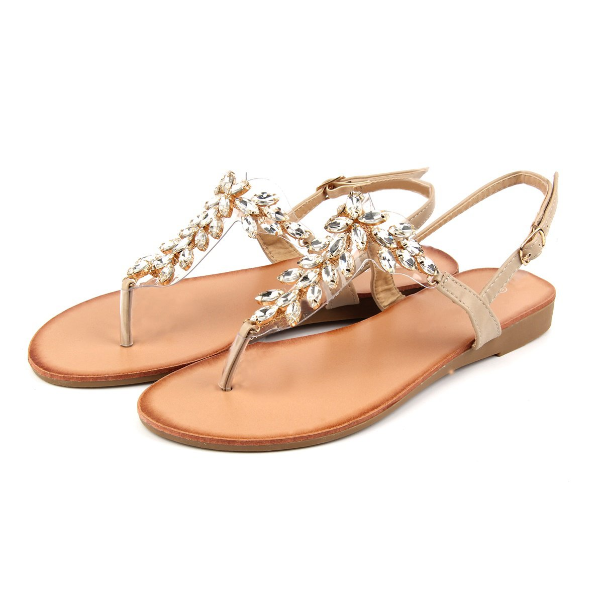 MUDAN Mu Dan Womens Shoe Braided Rhinestone Flat Sandal