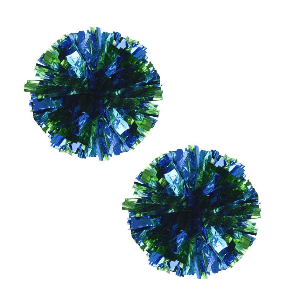 Kylin Express Set of 2 Plastic Ring Pom Metallic Cheerleading Poms 100g Green+Blue