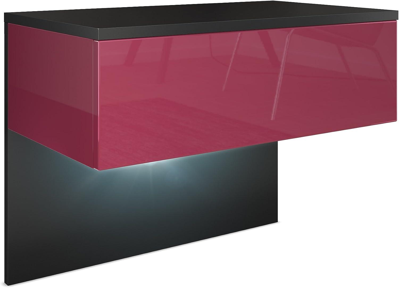 Corps en Noir Mat//Fa/çades et Les c/ôt/és en Aspet B/éton Oxyde avec /éclairage LED Vladon Table de Chevet de Nuit Sleep