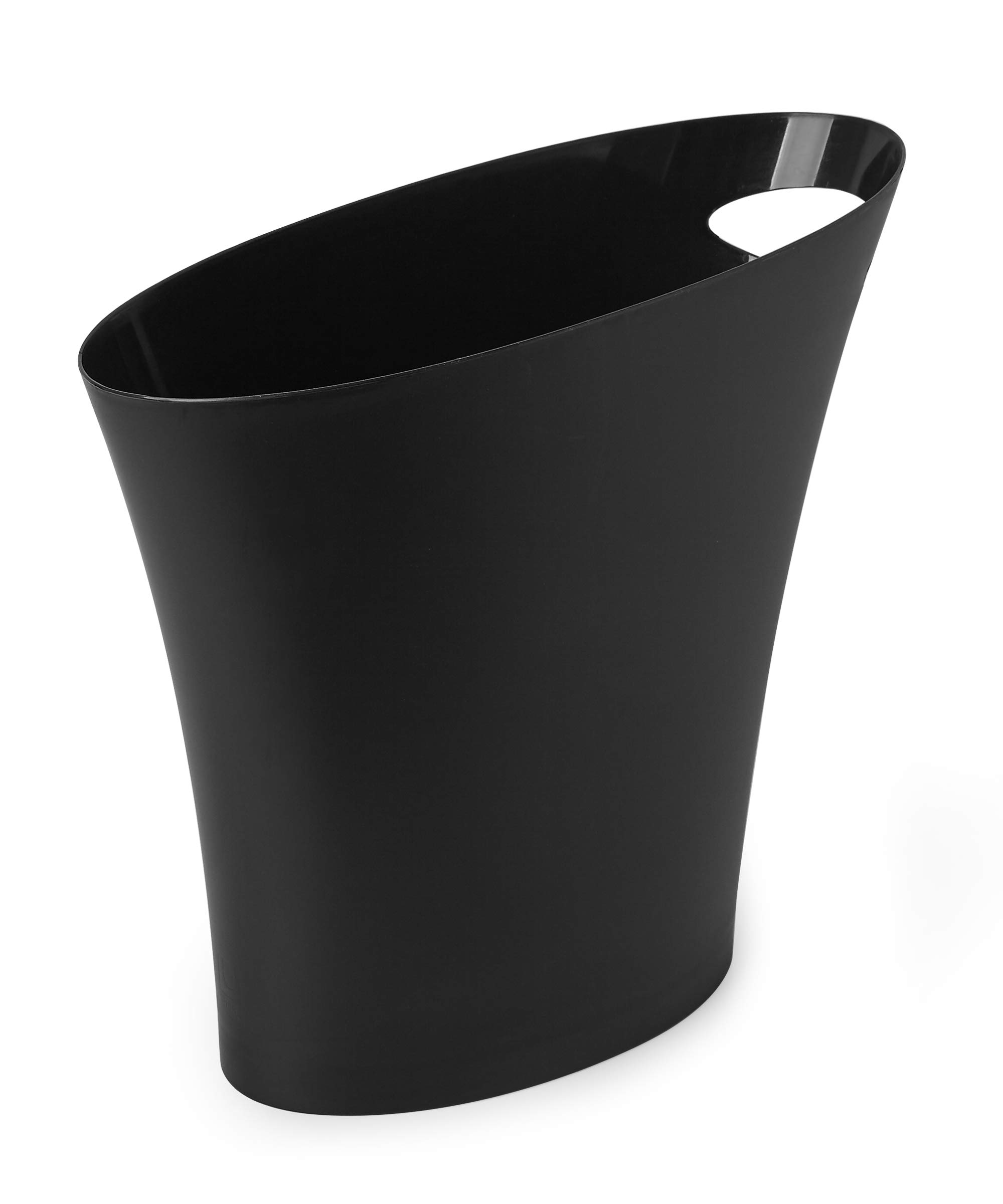 Umbra Skinny 6 FITS ALMOST ANYWHERE: A stylish trash can with a modern slim design that looks great and easily fits into narrow openings and odd spaces in your bathroom, bedroom or office CLEVER DESIGN: Despite its narrow profile, Skinny trash can hold up to 2 gallons and features an integrated handle for easy transport and disposal of contents making it an ideal trash can for bathroom DURABLE & EASY TO CLEAN: Made of super-strong polypropylene, Skinny trash cans are durable, easy to wipe clean with a damp cloth, and features a rounded bottom with no crevices for dirt, grime, or liquids to get trapped in
