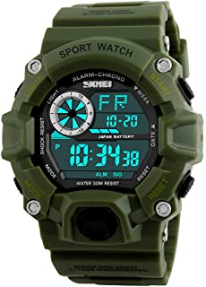 Fanmis Mens Digital 50M Waterproof Electronic Sport Watch Rubber Band Army Military 24H Time LED Light