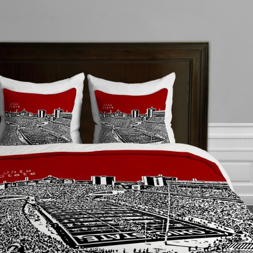 Deny Designs Bird Ave Ohio State Buckeyes Red Duvet Cover, Queen (State Ohio Queen)