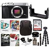 Fujifilm X-E3 Mirrorless Digital Camera (Body, Silver) w/BLC Leather Case, 64GB Memory Card & Editing Software Bundle