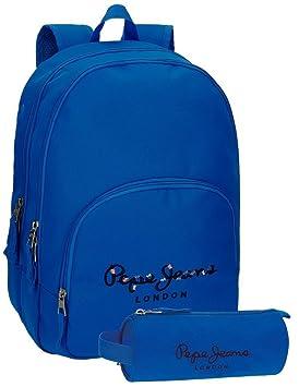 Mochila Pepe Jeans Harlow Azul doble compartimento + estuche ...