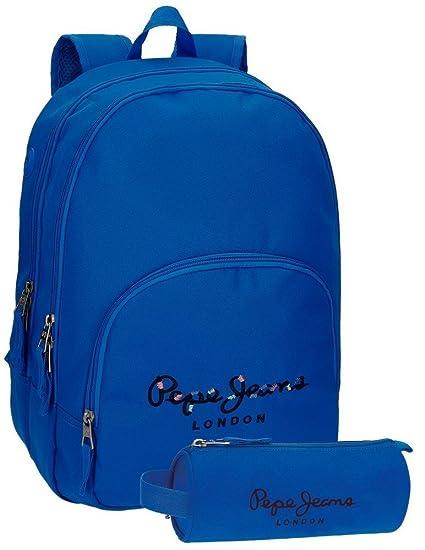 Mochila Pepe Jeans Harlow Azul doble compartimento + estuche escolar