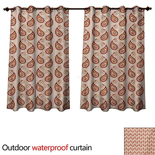 (WilliamsDecor Paisley Home Patio Outdoor Curtain Contemporary Illustration of Persian Style Paisley and Patterns Print W84 x L72(214cm x 183cm))