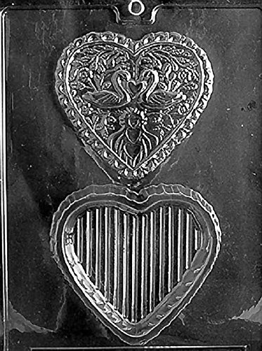 (Grandmama's Goodies W032 Swan Heart Pour Box Chocolate Candy Soap Mold with Exclusive Molding)