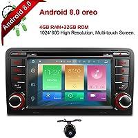 Freeauto pour Audi A3S37 pouces Android 8.0Multi écran tactile stéréo de voiture radio lecteur DVD GPS CANBUS Fonction écran Miroir OBD24G de RAM 32Go de ROM avec gratuit Caméra de recul