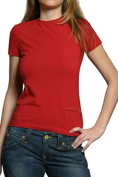 9be6cda76 Prada Ladies T-Shirt PARICOLLO COTONE STRETCH , Color: Red, Size: L ...
