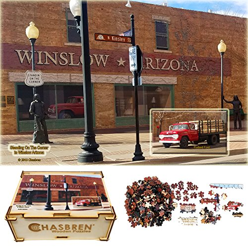 CHASBREN Wooden Jigsaw Puzzles - Standing On The Corner In Winslow Arizona, 300 Solid Cedar Wood Pieces In Wood Gift Box For Adults and Kids (Cedarwood Window Box)