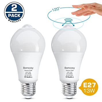 Bomcosy Bombillas LED con Sensor de Movimiento13W E27 Auto On/Off PIR Infrarrojo DetecciónBlanco Cálido 3000K Pack de 2: Amazon.es: Bricolaje y herramientas
