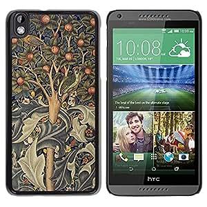 TopCaseStore / la caja del caucho duro de la cubierta de protección de la piel - Tree Art Indian Painting Abstract - HTC DESIRE 816