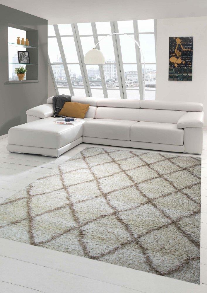 Shaggy Wohnzimmerteppich Hochflor Langflor Rautenmuster in Creme Beige Größe 200 x 290 cm