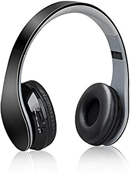 Auriculares Bluetooth,Dylan Casco Inalámbrico de Diadema Manos Libres Over-oreja Wireless Headphone con Puerto Micro USB Playstaion3 Cabeza Plegable Deportivo para Móvil Mp3 Iphone Ipad Con Jack de 3.5mm y el Micrófono(Negro): Amazon.es: